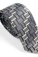 Cravata DO&DO slim gri cu bleumarin negru si alb