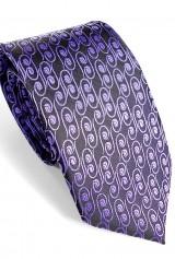 Cravata lata neagra cu mov