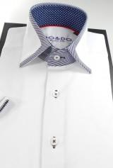 Camasa DO&DO casual slim cu maneca scurta alba cu insertii de material dungat bleumarin cu alb