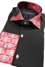 Camasa DO&DO slim neagra cu mansete si guler print rosu negru alb