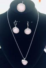 Set din argint 925 cu cuarț roz