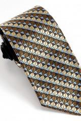 Cravata neagra cu romburi maro-bej