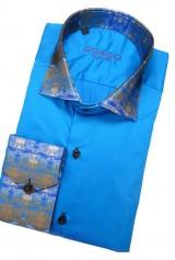 Camasa DO&DO slim albastra cu guler si mansete print alb maro negru