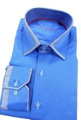Camasa DO&DO slim bleu cu insertie la guler si mansete