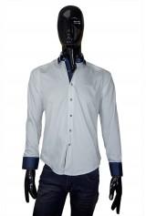 Camasa DO&DO alba guler cu model bleumarin alb si mansete bleumarin