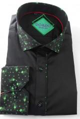 Camasa DO&DO neagra cu textura florala verde la guler si mansete
