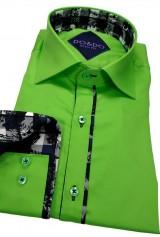 Camasa DO&DO slim verde cu insertie la mansete si guler