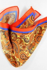 Batistă cu dungă portocalie și bleumarin și model floral de culoare galben