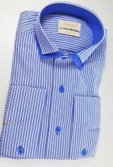 Camasa albastra cu dungi albe