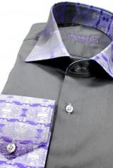 Camasa DO&DO slim gri cu mansete print mov alb negru