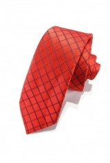 Cravata slim, rosie cu dungi grena si bleumarin