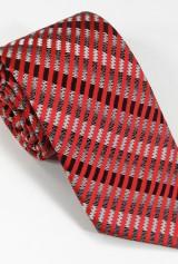 Cravata negru cu alb si dungi rosii