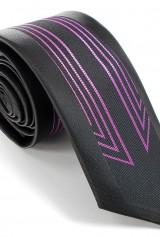 Cravata neagra cu dungi mov