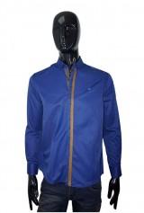 Camasa Albertino casual albastru-bleumarin guler scurt cu nasturi