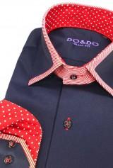 Camasa DO&DO slim bleumarin cu mansete si guler model combinat rosu si alb