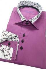 Camasa DO&DO mov lila cu floricele negre