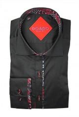Camasa DO&DO neagra cu insertie print cu rosu la mansete