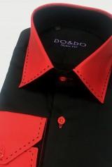 Camasa DO&DO slim neagra cu mansete si guler rosii