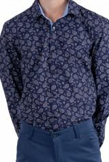 Camasa print Paisley cu capse, DO&DO, Bleumarin
