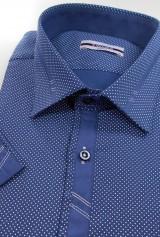 Camasa TWORS cu maneca scurta bleu cu buline si insertii la guler