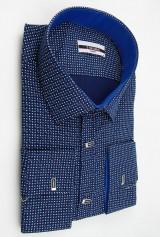 Camasa bleumarin cu punctulete albastre si albe