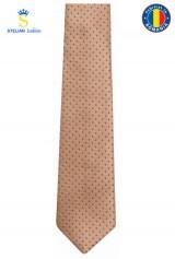 Cravata crem cu buline