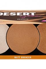Paleta multi-utilizare care conține un matt autobronzant și două nuanțe de highlighter, lumină și întuneric.