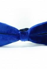 Papion albastru din catifea