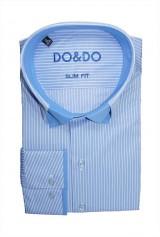 Camasa DO&DO casual cu bleu cu dungi albe si guler dublu scurt