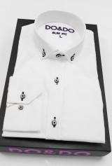 Camasa DO&DO alba cu nasturi forma patrata alb cu negru guler scurt
