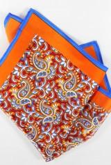 Batista cu fond portocaliu print floral cu margine albastra